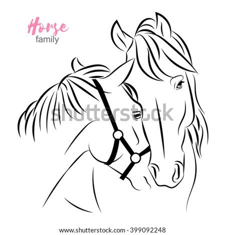 two horses express care and love to each other. Mother and foal vector sketch illustration.