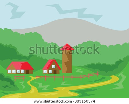 Two Houses and Tower with Red Roof surrounded by Fence. Countryside View. Cloudy Sky and Green Hills Landscape. Digital background vector illustration.