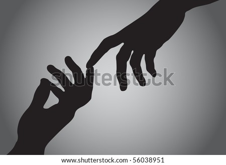 Two human hands - stock vector