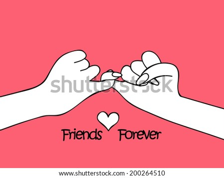 Two human hands together on pink background for Happy Friendship Day.  - stock vector