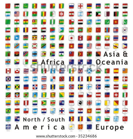 two hundred of fully editable vector world flags web buttons with official colors and details ready to use - stock vector