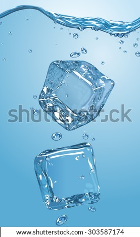 Two ice cubes dropped into water. Vector illustration. EPS10. - stock vector