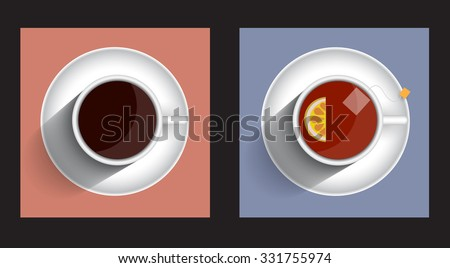 Two icons cup tea and coffee with long shadow. Vector set - stock vector