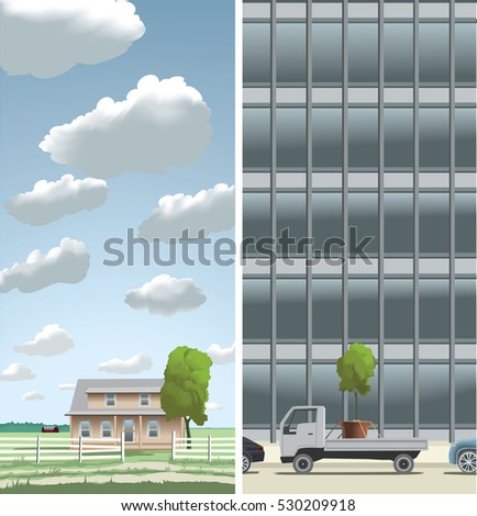 Two images in one illustration showing the fast development from a small town to a big city. Only the sky is the limit and not visible after big construction. Elements in separate layers