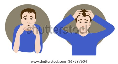 Two images of a scared cartoon young man, one clutches his head in horror, another closes his mouth with his hands, vector image, eps10 - stock vector