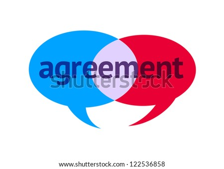Two Intersecting Speech Bubbles With the Word Agreement - stock vector