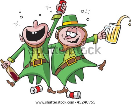 Two intoxicated cartoon Leprechauns partying on. Each Leprechaun, bubbles and beer cans are all on separate layers.