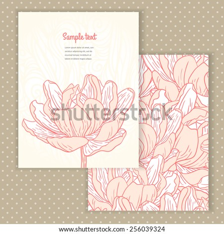 Two invitation card design with spring flower illustration and background. Vector design template for card, letter, banner, menu. Floral wedding pattern under mask. - stock vector