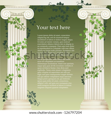 Two Ionic columns entwined with ivy - stock vector