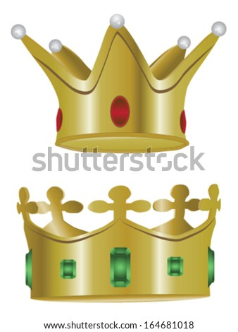 Two isolated jeweled, gold crowns from medieval times - stock vector