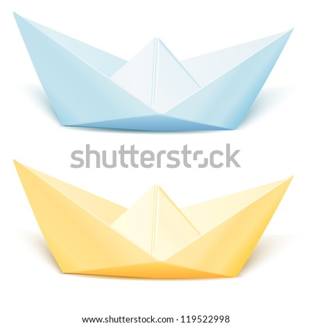 Two isolated vector paper ships: blue and yellow