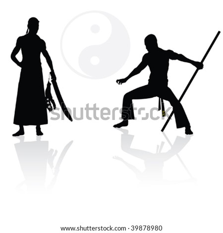 Two Japanese warriors before fight - stock vector
