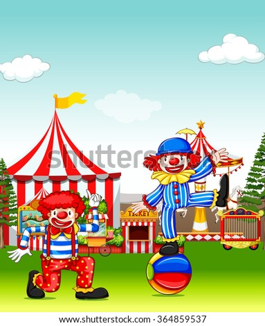 Two jesters performing in the amusement park illustration
