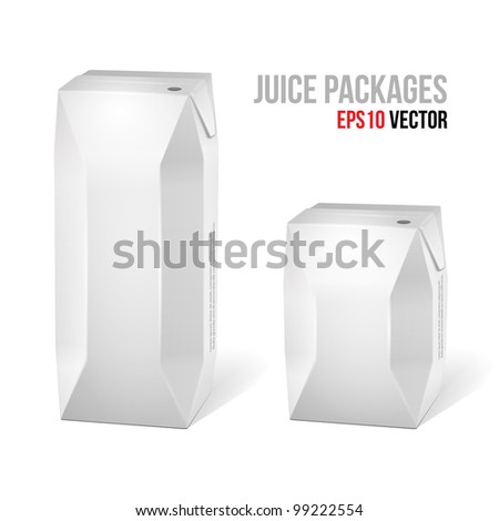Two Juice Carton Packages Blank White: Vector Version EPS10 - stock vector