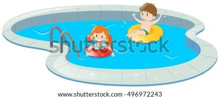 two kids swimming pool illustration stock vector 496972243 rh shutterstock com clipart swimming pool black and white clipart swimming pool free