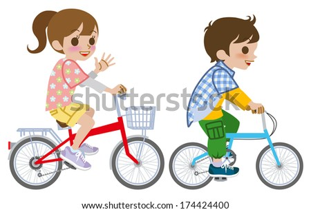 Two kids riding Bicycle, Isolated - stock vector