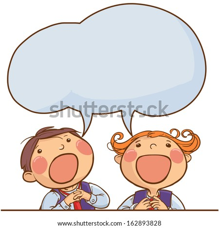 Two kids singing together. Speech bubble. Back to School children illustration. Separate Objects on white background. Editorial. Education. VECTOR. - stock vector