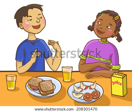 Two kids talking together at lunch table. Back to School children illustration. Separate Objects on white background.  Children illustration for School books, magazines, advertising and more. VECTOR. - stock vector