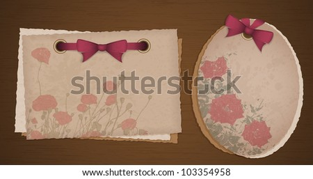 Two kind of old paper with ribbons and flowers, digital scrapbook - stock vector