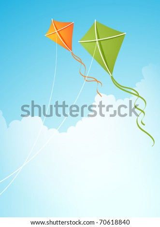 Two kites in the sky - stock vector