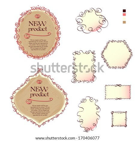 Two labels and set of the shapes with flourish elements on the white background