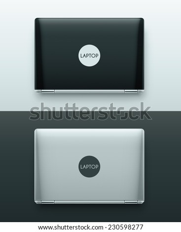 Two laptops (black and white), top view, eps 10