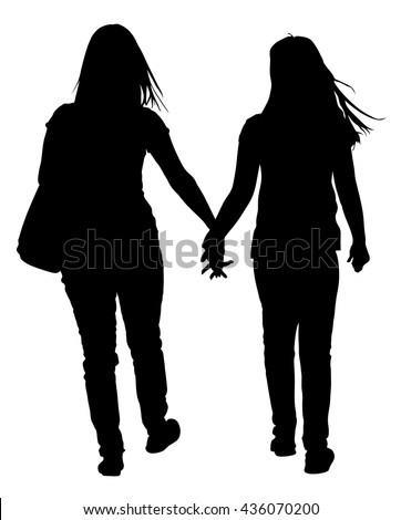 Two lesbian girls hand to hand vector silhouette illustration isolated on white background. Lovely lesbian couple walking the street. Closeness in public. - stock vector