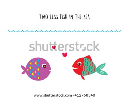 two less fish in the sea wedding invitation card vector. cute graphic cartoon ocean fish wedding greeting card illustration. valentine card with two fish in the sea. - stock vector