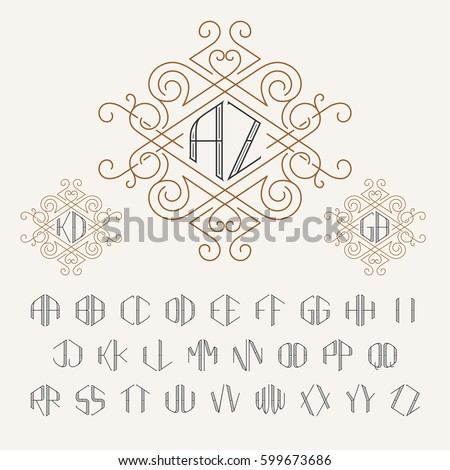 Two letters monogram template outline style stock photo photo two letters monogram template in outline style set of letters from a to z spiritdancerdesigns Gallery