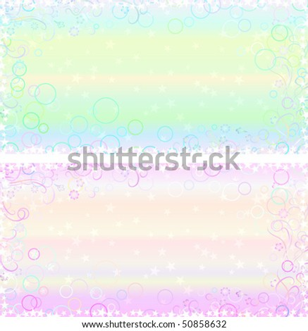 Two light pastel backgrounds with fantasy frames