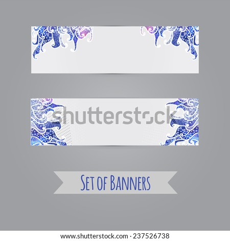 Two light watercolor abstract artistic banners with hand-drown elements - editable Illustration EPS10 - stock vector