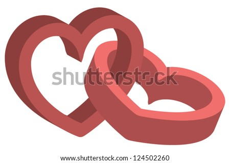 Two linked three-dimensional red hearts