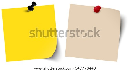 two little colored sticky papers with shadow and pin needles - stock vector