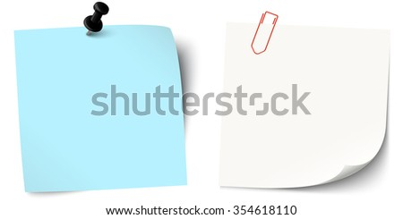 two little colored sticky papers with shadow, pin needle and paper clip