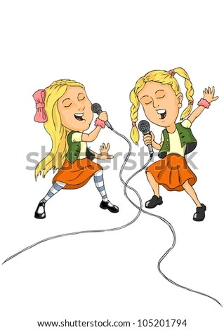 Two little girls sing in microphones from all heart - stock vector
