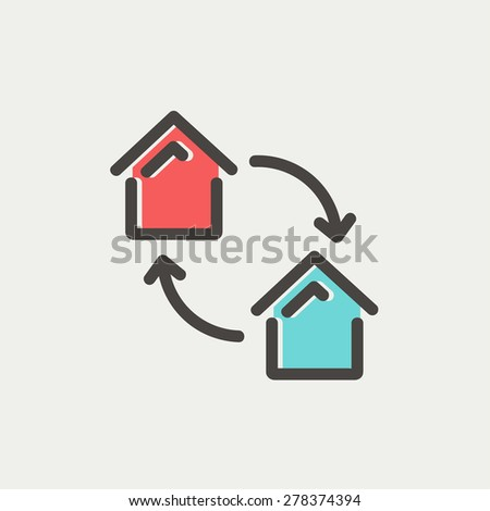 Two little houses icon thin line for web and mobile, modern minimalistic flat design. Vector icon with dark grey outline and offset colour on light grey background. - stock vector