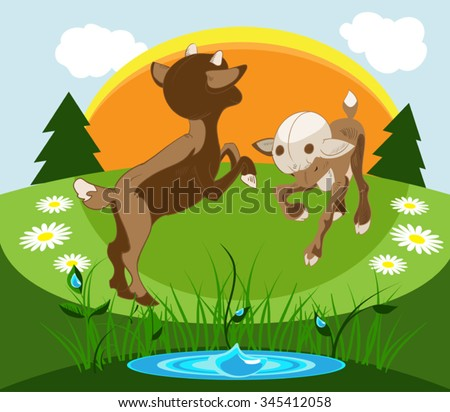 two little kitten playing on the summer 