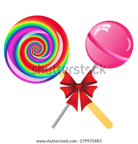two lollipops with bow isolated on the white phone