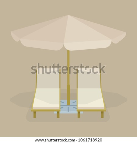 Two lounge chairs with sun umbrella on a beach. Beach deck chair and umbrella illustration & Two Lounge Chairs Sun Umbrella On Stock Vector 1061718920 - Shutterstock