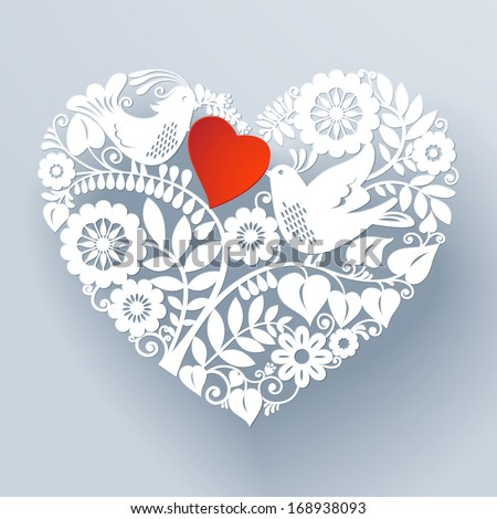 Two love birds are part of a beautiful floral lace like paper cut ornament that creates a three-dimensional heart shape design element. Vector EPS 10 illustration.
