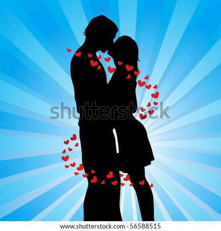 two lovers kissing vector illustration - stock vector