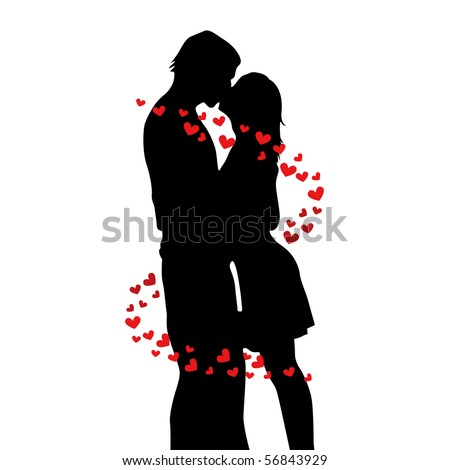 two lovers kissing vector illustration