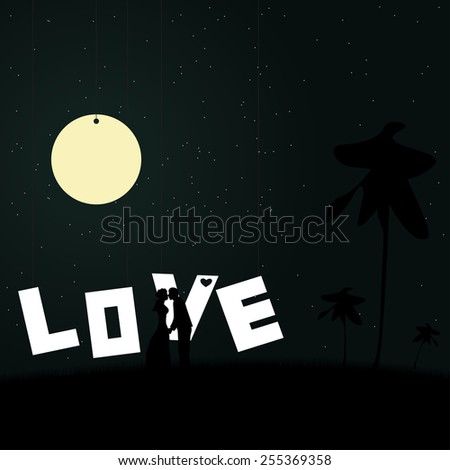 Two lovers on a background of the night sky with shining stars and moon illustration. - stock vector