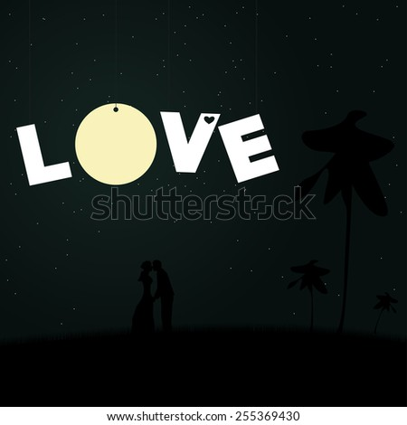 Two lovers on a background of the night sky with the moon. - stock vector