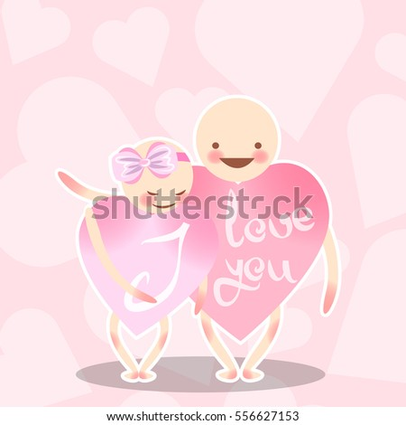 Two lovers pink heart. The boy hugs a girl with a bow. Funny vector characters. Congratulations on the Valentine's day. Illustration