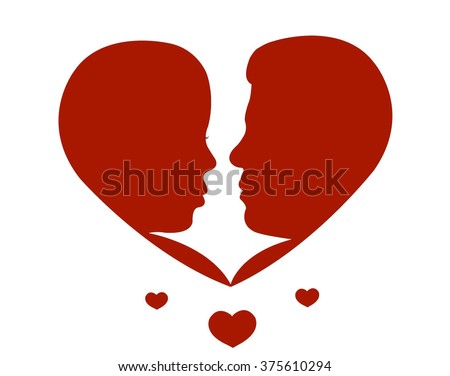 Two lovers. Silhouette in heart shape - stock vector