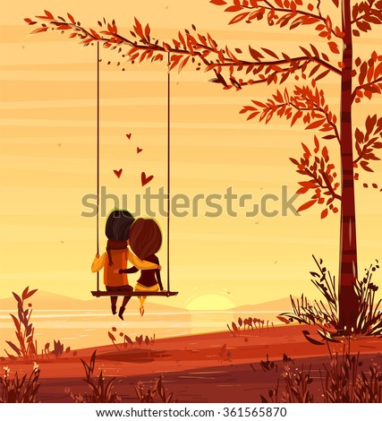 Two lovers sitting on a swing at sunset on the ocean. Modern design stylish illustration. Retro flat vector background. Valentines Day Card. - stock vector