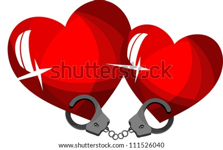 two loving hearts handcuffed - stock vector