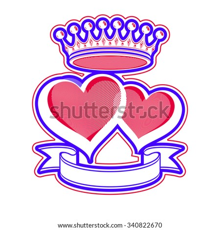Two loving hearts vector illustration with imperial crown. Royal couple elegant symbol isolated on white background. Valentines day romantic design element, best for use in advertising.