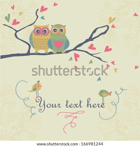 Two loving owls sitting on branch with cute hearts and birds in cartoon style